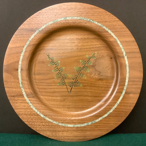 Walnut Plate with Fern Design and Calcite Crystals Detail, David Buchholz, Augur Lake, Keeseville, NY