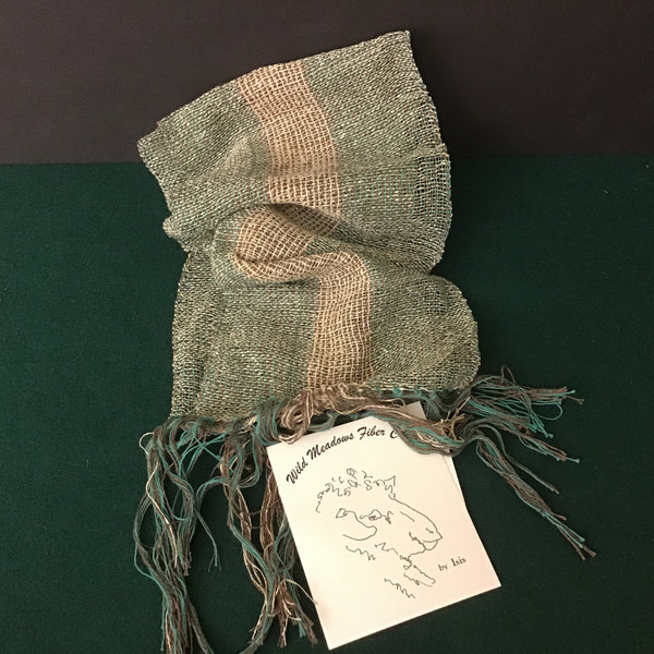 Hand Woven Scarf Turquoise and Brown Stripes, Isis Melhado, Canton, NY