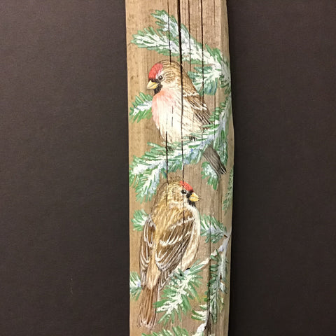 Copy of Driftwood Painting Common Redpolls in Winter