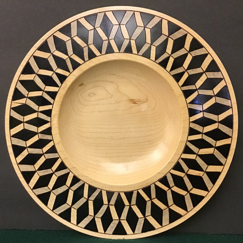 Plate with Black Geometric Pattern on Rim, David Buchholz, Augur Lake, Keeseville, NY