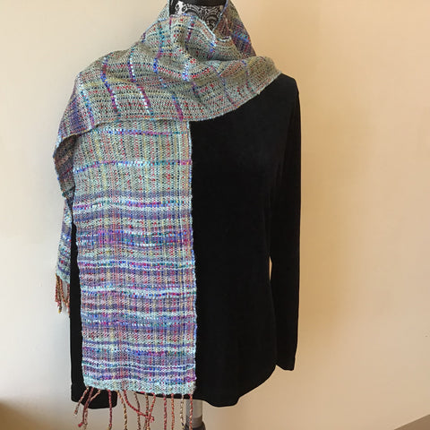 "Handwoven ""Ella"" Scarf, Silk, Cotton, and Linen, in Mint and Blues, Kim Richey, Chateaugay, NY"