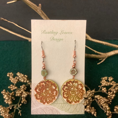 Clay Earrings Green and Rust with Floral Bead,  Kathy Lahendro, Potsdam, NY