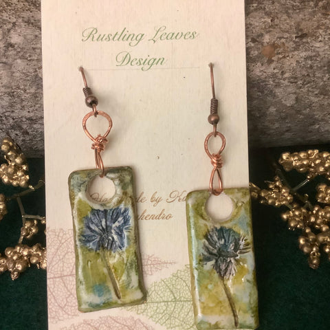 "Sealed Clay ""In the Garden"" Earrings with With Real Impressed Clover, Kathy Lahendro, Potsdam, NY"