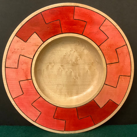 Birdseye Maple Plate with Six Shades of Red Rim, David Buchholz, Augur Lake, Keeseville, NY