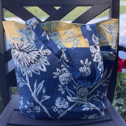Market Tote Blue and Yellow Fabric, Tina Charbonneau, Lake Placid, NY