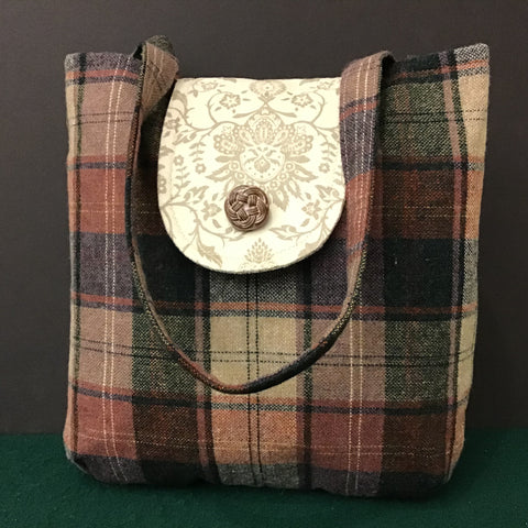 Handbag Pink Wool Plaid with Cream and Beige/gray Details
