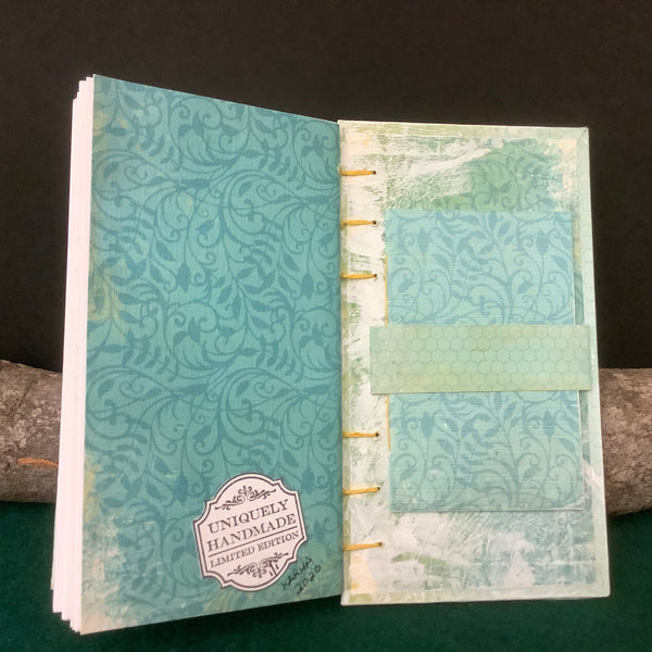 """One of a Kind"" Journal, Turquoise and Fringe Tie, Christina Ruddell, St. Regis Falls, NY"