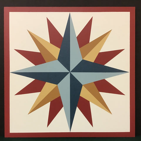 "Large Barn Quilt ""Compass Rose Variation"" Pattern 2' x 2'"