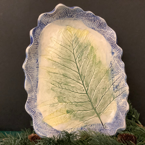 Hand-built Plate with Embossed Fern Pattern with Blue Border, Jackie Sabourin, Lake Shore Road, Peru, NY