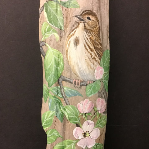 Driftwood Painting Song Sparrow & Apple Blossoms