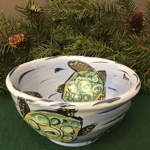 Small Blue Bowl with Turtles