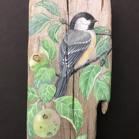 Driftwood Painting Chickadee in the Orchard