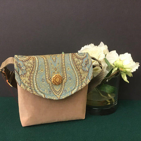 Small Crossbody Bag, Tan Suede with Tapestry Flap