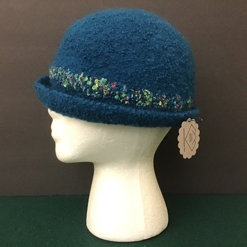 Teal Hand Felted Wool Hat with Muench Stripe, Robin Hopper