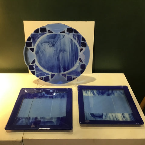 Blue Glass Serving Bowl and Two Plates, Marie Cogar, Gabriels, NY
