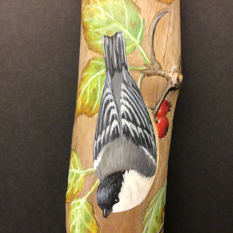 Driftwood Painting Chickadee and Hawthorne Berries
