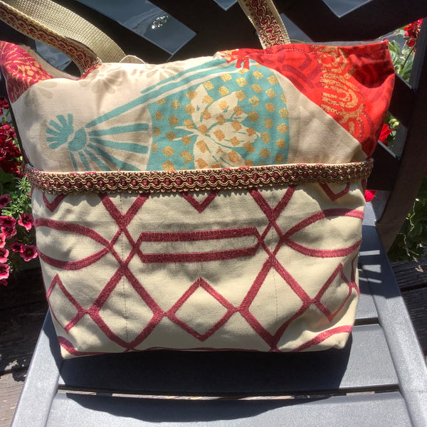 Designer Tote Beige, Red and Turquoise Bold Fabric, Tina Charbonneau, Lake Placid, NY