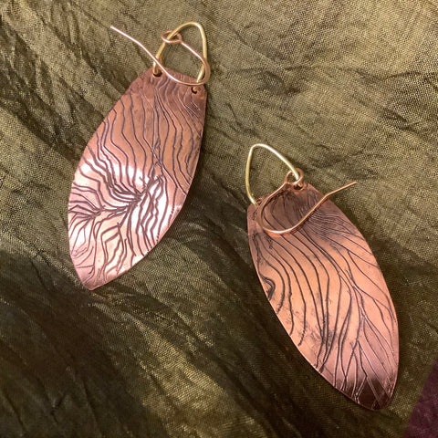 Copper Swirl Pattern Earrings Drops(#33) Toos Roozen-Evans, Chateaugay Lake, NY