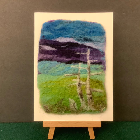 "Hand Felted Card "" Adirondack Mountains IV"", Kathy Montan, Canton, NY"