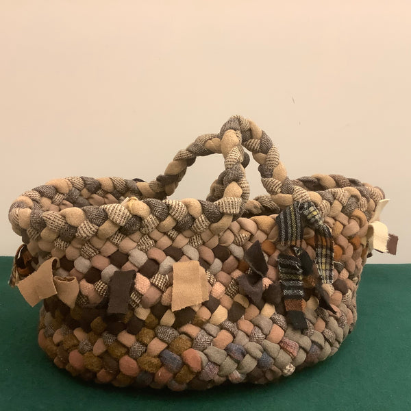 Large Braided Basket Browns and Plaids, Debbie Orland, Colton, NY