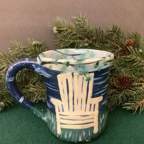 Mug with White Adirondack Chair and Dark Blue Water