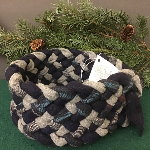 Braided Basket in Navy Plaids, Debbie Orland, Colton, NY