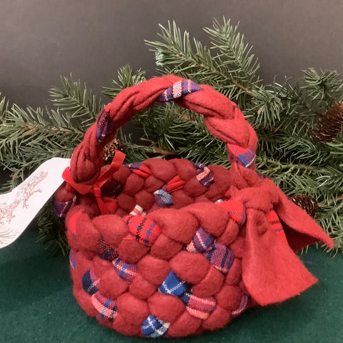 Small Braided Basket with Handle, Reds and Blue Plaids, Debbie Orland, Colton, NY