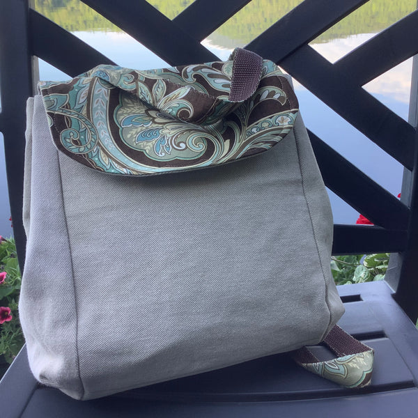 Backpack Purse in Cream Twill, Tina Charbonneau, Lake Placid, NY