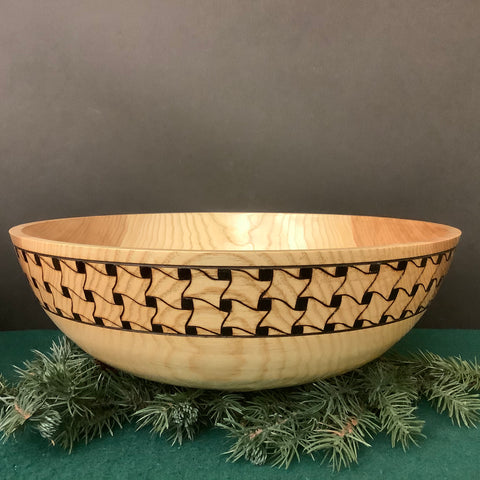 Footed Ash Bowl with Basketweave Pattern, David Buchholz, Augur Lake, Keeseville, NY