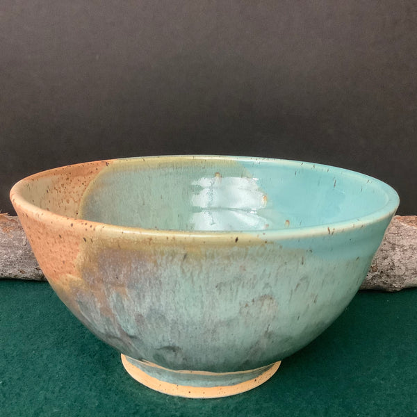 Deep Serving Bowl in Turquoise and Sand,  Linda Petroccione, DeKalb Junction, NY