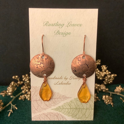 Disc Earrings Embossed with Amber Beads, Kathy Lahendro, Potsdam, NY