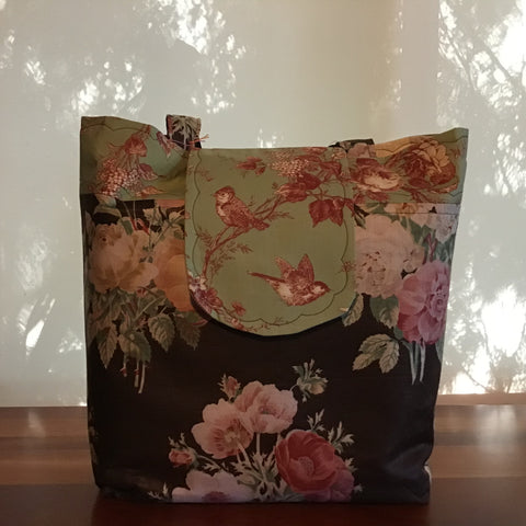 Tote Bag, Ralph Lauren Black Linen Fabric with Green Toile