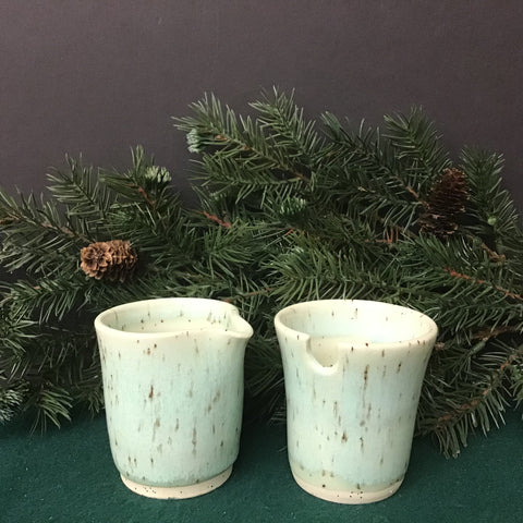 Sugar and Creamer Set in Pale Greens, Linda Petroccione, DeKalb Junction, NY