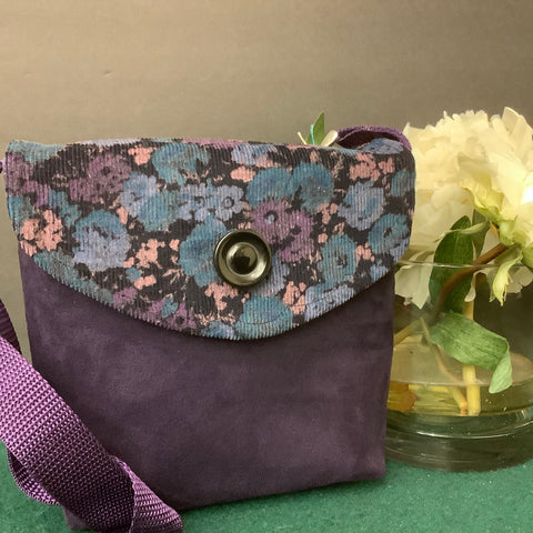 Small Crossbody Bag, Purple Suede with Corduroy Flap