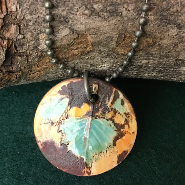 Ceramic Pendant with Young Birch Leaves