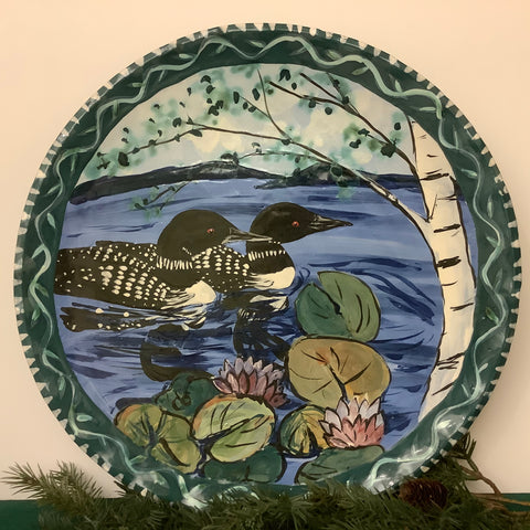 Large blue and green round fluted serving platter with loons and lily pads, Roxanne Locy