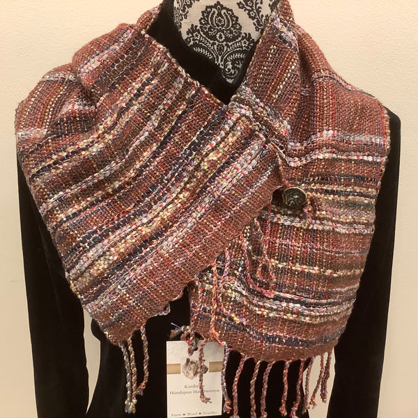 "Handwoven Silk, Cotton,Linen ""Dorothy"" Button Scarf in Browns, Kim Richey, Chateaugay, NY"