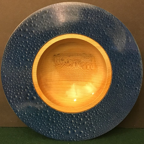 "Maple Bowl with Blue ""Raindrops"" Design,  David Buchholz, Augur Lake, Keeseville, NY"
