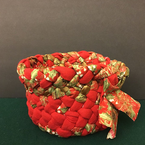 Braided Basket in Bright Christmas Fabric, Debbie Orland, Colton, NY