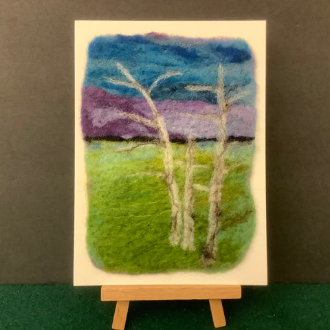 "Hand Felted Card "" Adirondack Mountains III"" Kathy Montan, Canton, NY"