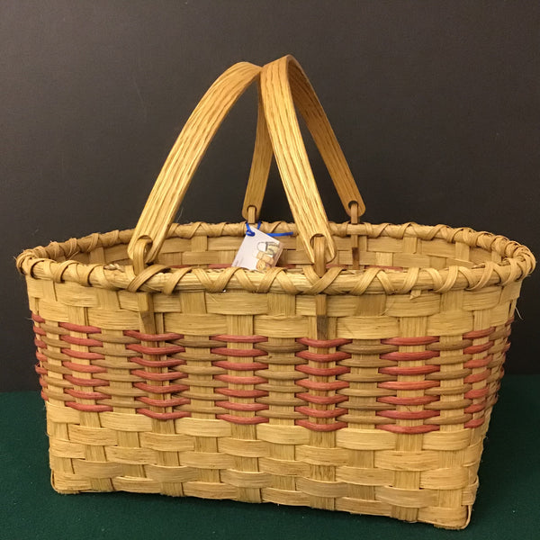 Large Open Basket with Red and Smoked Bands and Swing Handles, Sue Ulrich, Boonville
