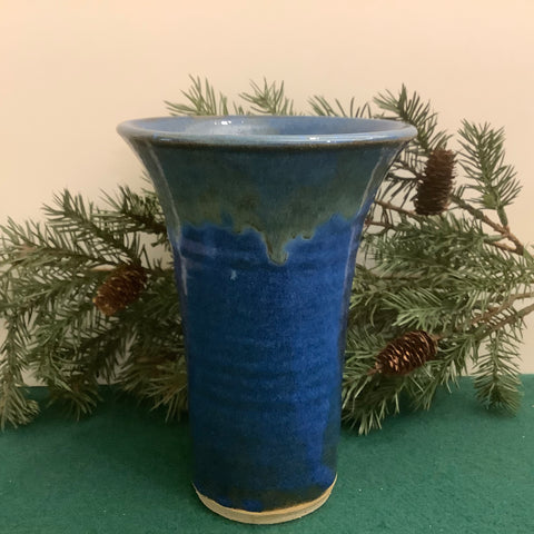 Bright Blue Vase with Flared Top