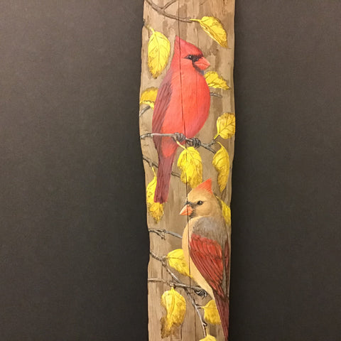 Driftwood Painting Cardinals and Autumn Leaves