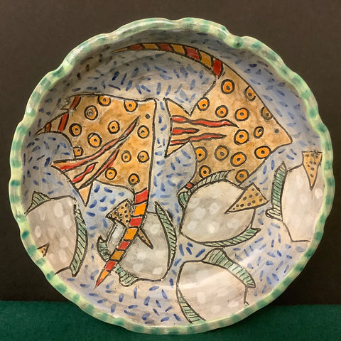 Fluted Dish with Carved Turtles