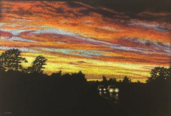 """Red Sky in Evening"", Original Dry Pastel on Black Paper, William Newman, Rensselaer Falls, NY,"