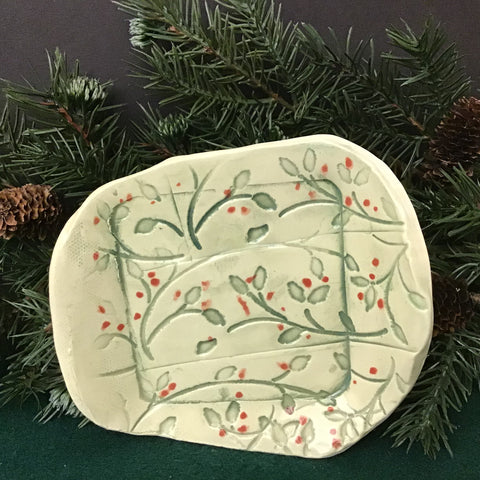 Hand built Stoneware Plate, Green Vines with Red Berries, Jackie Sabourin, Lake Shore Road, Peru, NY