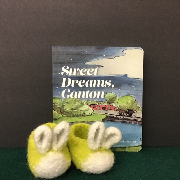 """Hunny Bunny"" Hand Felted Wool Baby Booties in Lime and White, Robin Hopper"