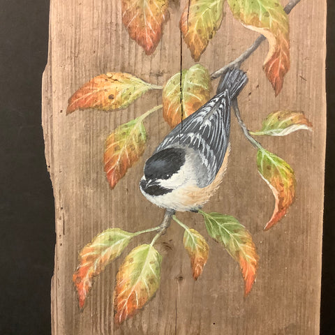 Driftwood Painting Chickadees with Fall Leaves, Susan Robinson