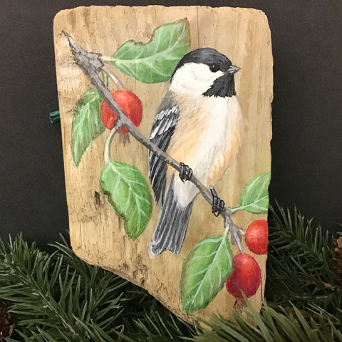 Driftwood Painting Chickadee & Crabapples