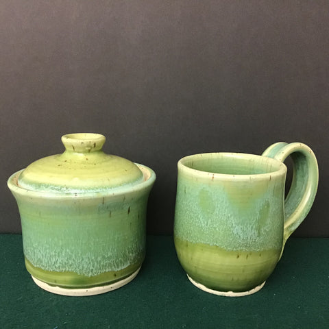 Sugar Bowl and Mug in Greens, Linda Petroccione, DeKalb Junction, NY
